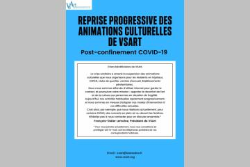Reprise progressive des animations culturelles de l'association VSArt